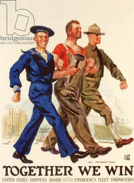 'Together We Win', United States Shipping Board Emergency Fleet Corporation, 1st World War poster (colour litho)