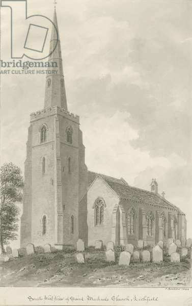 Lichfield - St. Michael's Church: sepia drawing, 1844 (drawing)