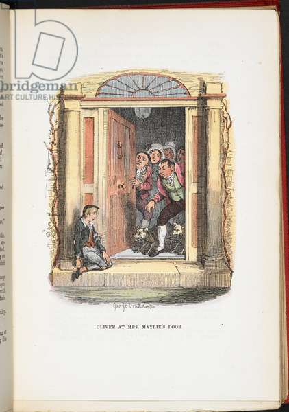 Oliver at Mrs Maylie's door, from The Adventures of Oliver Twist ... With twenty-four illustrations by Cruikshank, 1911 (colour litho)