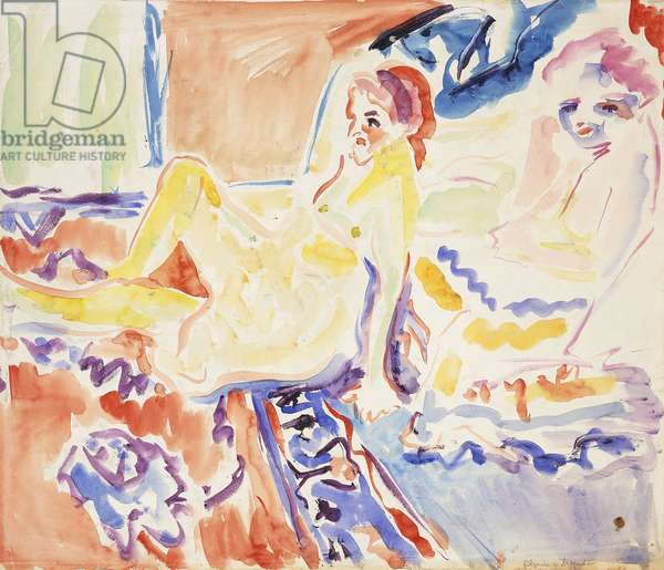 Sitting and Lying (recto); Sitzende und Liegende (recto),  (watercolour on paper)
