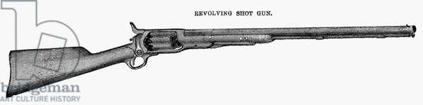 COLT REVOLVING SHOTGUN Line engraving, American, late 19th century.