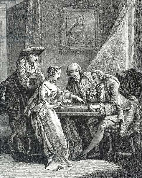Engraving depicting a game of Tric-Trac - an early form of Backgammon, 18th century
