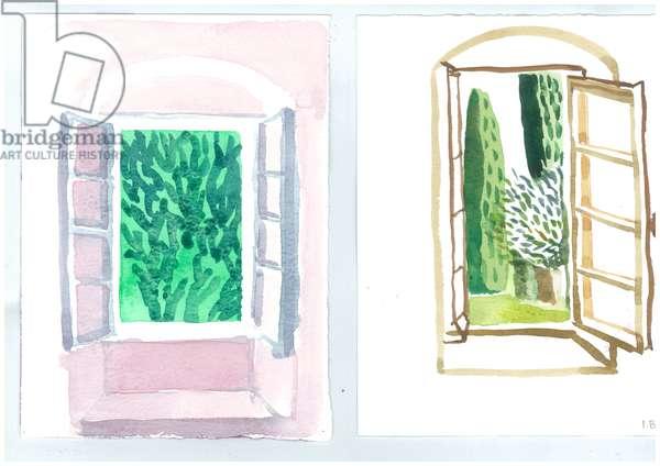 Windows at Patrick Leigh Fermor's House, Kardamyli, 2006 (w/c on paper)