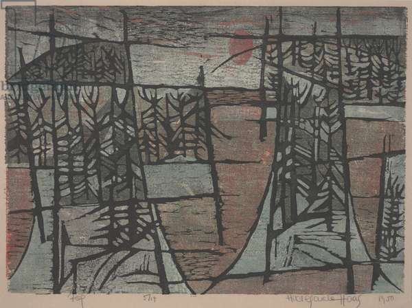 Fog, 1950 (colour woodcut)