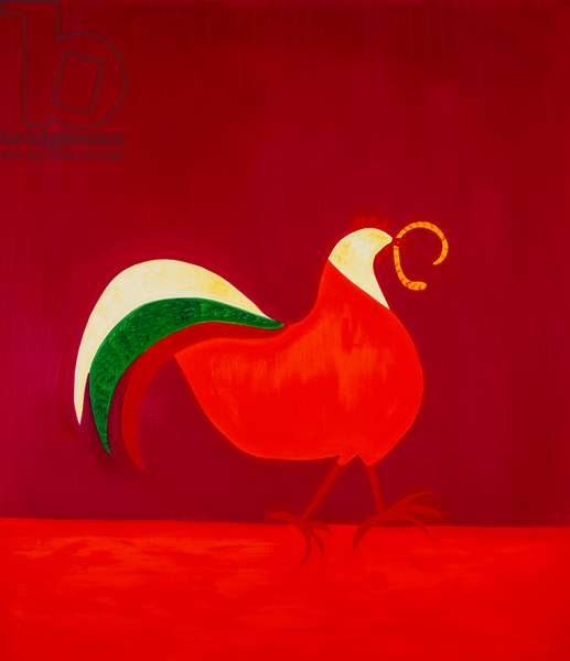Chicken and worm,1998,(oil on linen)