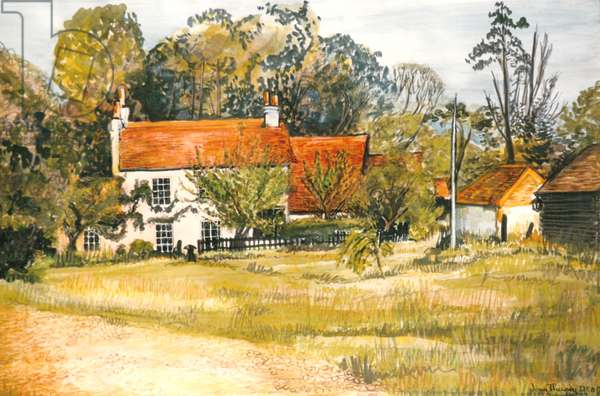 The Pink Cottage, Hedgerley Green, (watercolour)