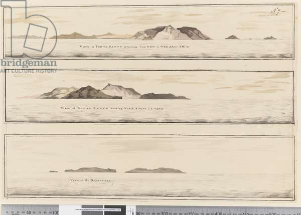 Page 7 (a) View of Porto Santo. Titled in ink along lower edge 'View of Porto Santo extending from NNW to WBW distant 5 miles' (b) View of Porto Santo bearing north. Titled in ink lower edge 'View of Porto Santo bearing north distant 2 leagues'. (c) View of the Deserters, 1768-75