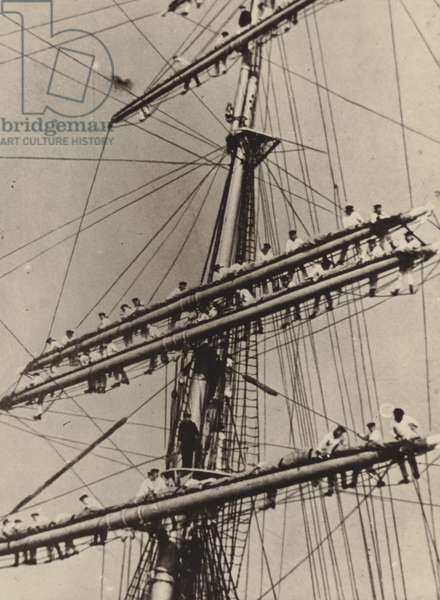 Naval cadets in the rigging of the German Navy sailing training ship Horst Wessel, late 1930s (b/w photo)