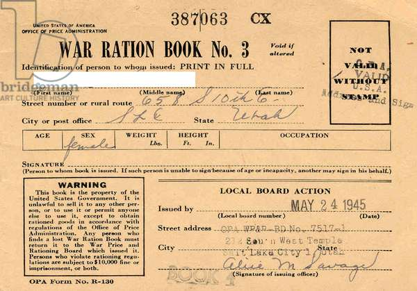 A World War Two US Ration Booklet