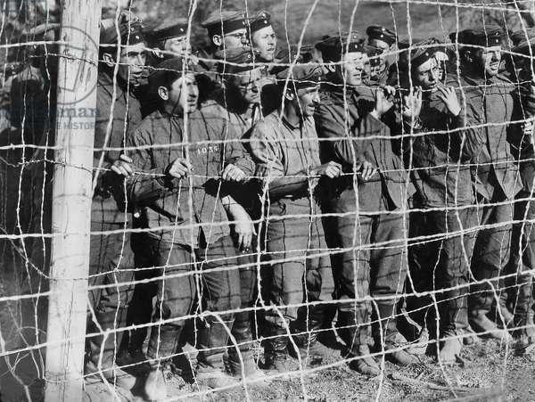 German soldiers as prisoners in WWI (b/w photo)