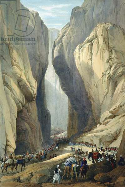 First Anglo-Afghan War 1838-1842: British army entering the Bolan Pass from Dadur. From J Atkinson Sketches in Afghanistan London 1842. Hand-coloured lithograph.