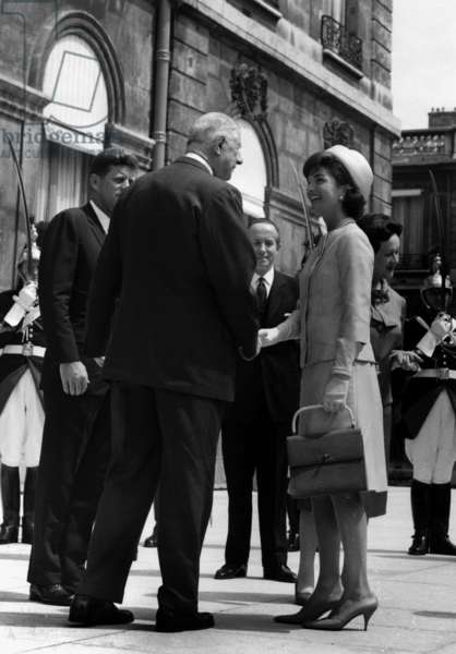 John F. Kennedy, French President Charles De Gaulle, and Jacqueline Kennedy Stand on The Steps of The Elysee Palace, France. May 31, 1961. Yvonne De Gaulle Is Behind Jackie (b/w photo)