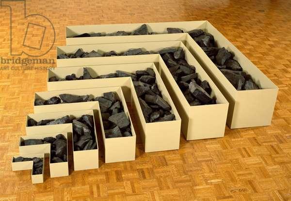 Non Site - Site Uncertain, 1968 (cannel coal, steel & enamel)
