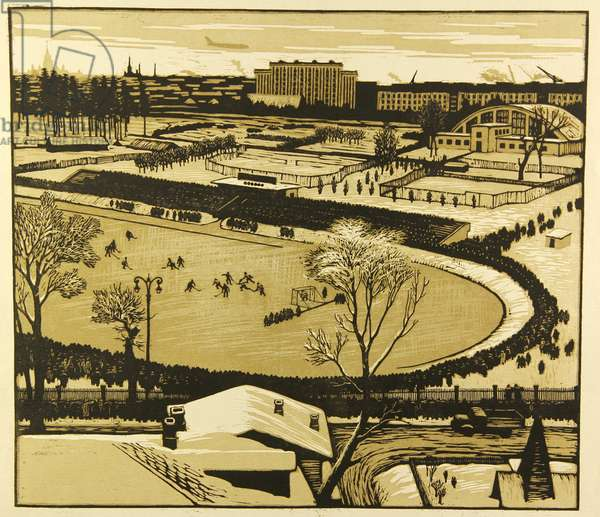 Playing Bandy at the Old Dynamo Stadium in Moscow, 1959 (linocut)