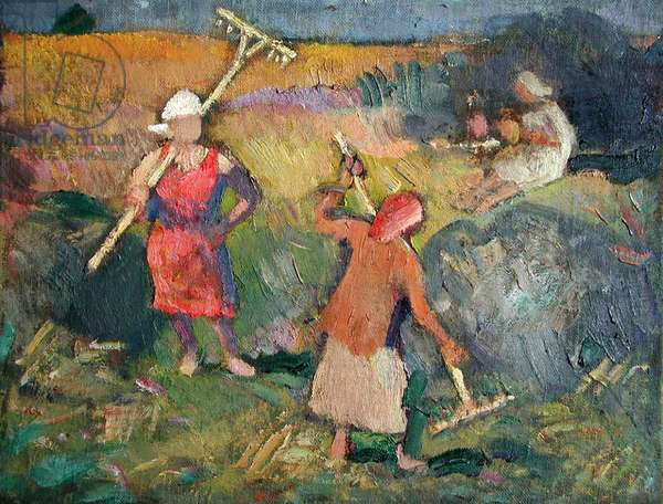 Haymaking, 1987 (oil on canvas)