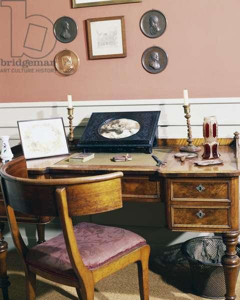 The writer's desk, birthplace of Hans Christian Andersen, Odense, Syddanmark, Denmark