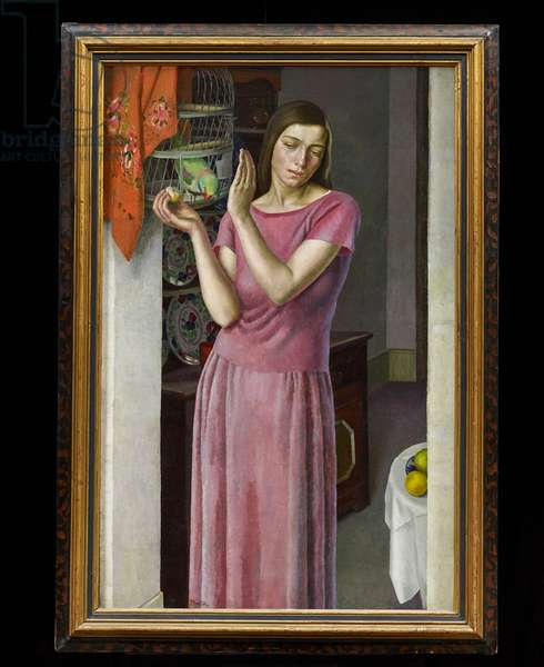 Girl with a Parrot, c.1925 (oil on canvas)