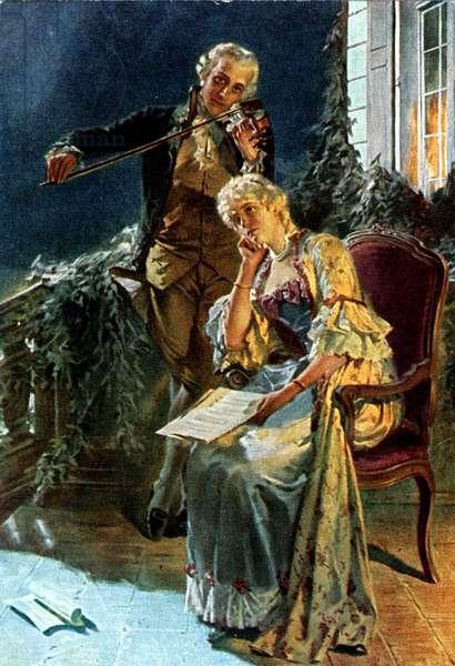Wolfgang Amadeus Mozart serenading