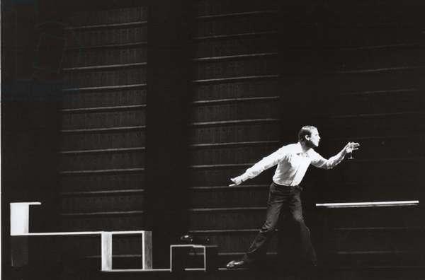 Bob Wilson on state at Strehler Theatre, Milan, Italy, 1978 (b/w photo)