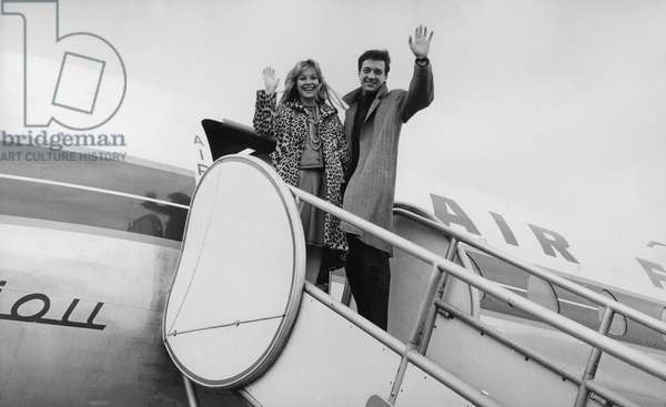 French Actors Marina Vlady and Jean-Pierre Cassel leaving for Athens to present films