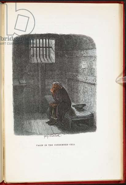 Fagin in the Condemned Cell, from The Adventures of Oliver Twist ... With twenty-four illustrations by Cruikshank, 1911 (colour litho)