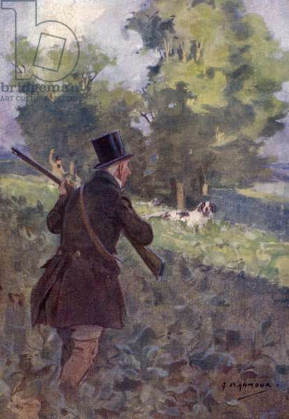 Old time partridge shooting (colour litho)