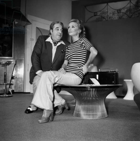Jacques Morel and Caroline Cellier during the rehearsal of the play