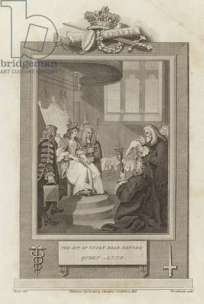 The Act of Union read before Queen Anne (engraving)