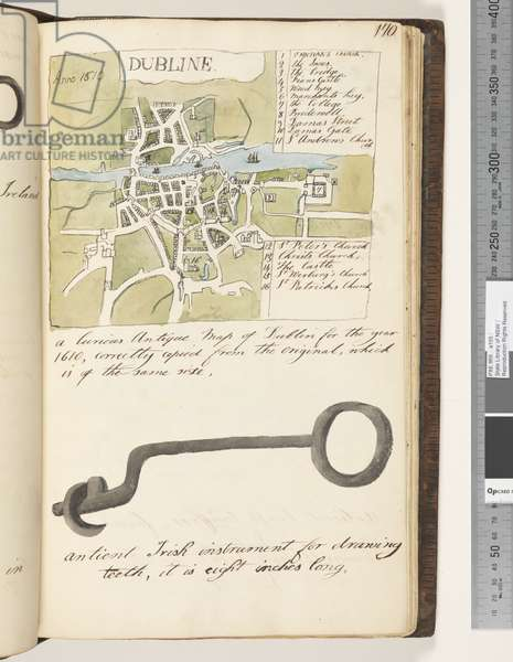 Page 170. A curious antique map of Dublin for the year 1610 copy of map published by John Speed; antient Irish instrument for drawing teeth, 1810-17 (w/c & manuscript text)