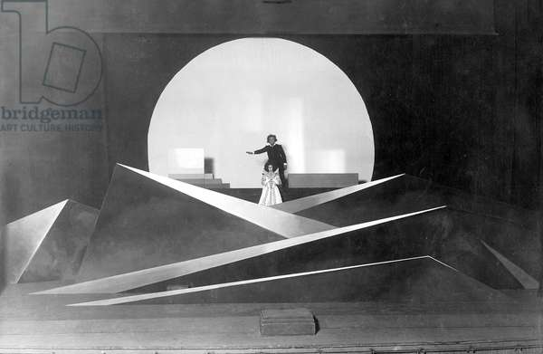 Performance of 'Don Juan and Faust' by Christian Dietrich Grabbe in the Weimar National Theatre,  designed by Bauhaus artist Oskar Schlemmer, 1925 (b/w photo)