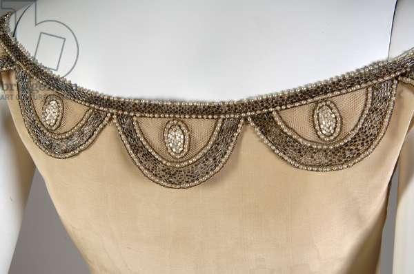 Robe de Style, 1927 (back oblique, detail view of neckline), Silk moiré, glass beads, pearls, metallic thread, Jeanne Lanvin, France