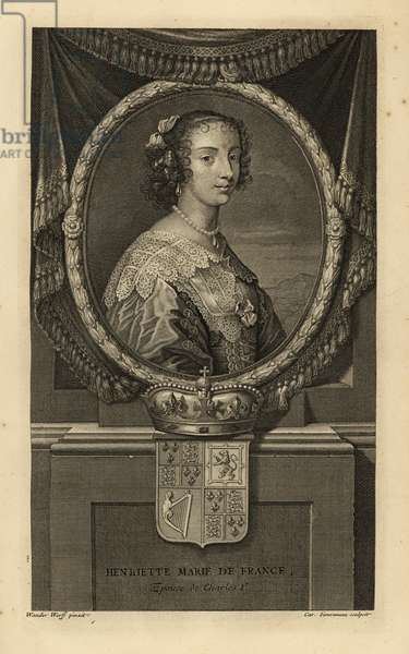 Henrietta Maria of France, wife of King Charles I of England. Henriette Marie de France. In dress with lace collar, pearl necklace. With crown and coat of arms. Copperplate engraving by Charles Simonneau after Adriaen van der Werff from Isaac de Larrey's Histoire d'Angleterre, d'Ecosse et d'Irlande, Amsterdam, 1730.