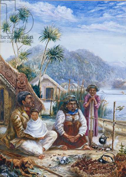 Maori Family, Tapuacharuru, Lake Roto-Iti, New Zealand (bodycolour)