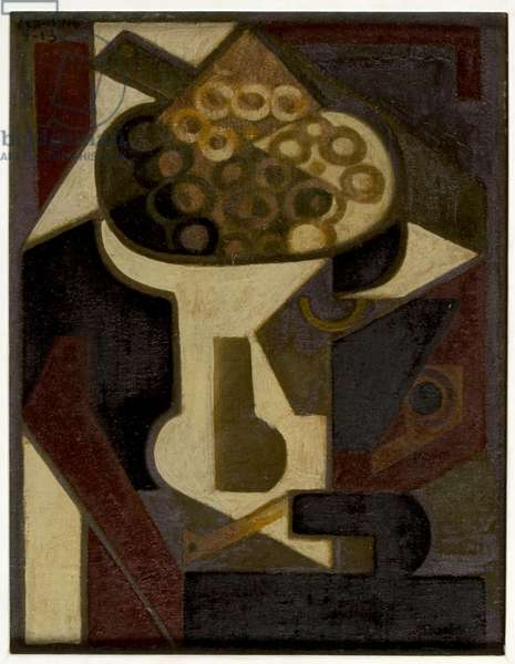 A Dish of Grapes and a Pipe on a Table, 1918 (oil on panel)