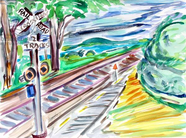 Railroad Crossing, 2020, (watercolor on paper)