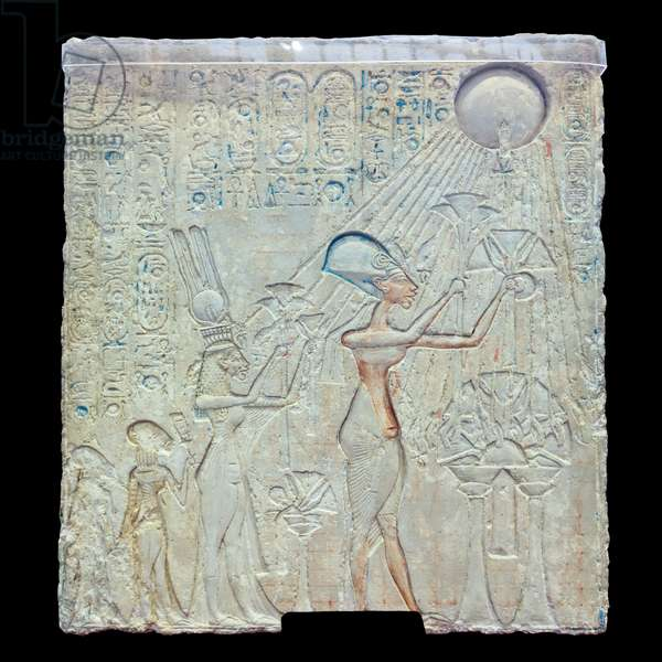 Stele discovered in Tell El-Amarna representing Akhenaten, 18th dynasty, polychrome limestone, Egyptian Museum, Cairo, Egypt (photo)