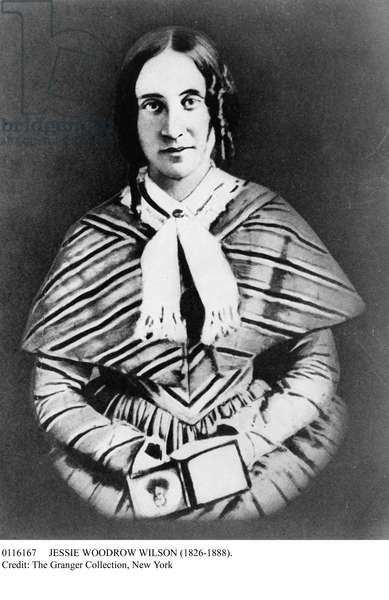 JESSIE WOODROW WILSON (1826-1888). Mother of Woodrow Wilson, 28th President of the United States. Photographed c.1850, holding a cased photograph.