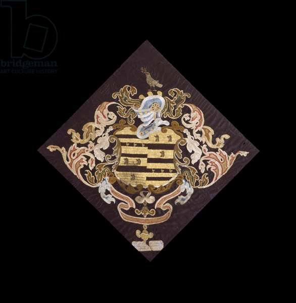 Coat of Arms (Babcock and Howe Families), 1785 (silk and satin)