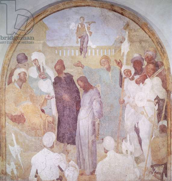 Christ before Pilate, 1523-1525, by Giacomo Carucci known as Pontormo (1494-1556), fresco. Certosa del Galluzzo, Florence.