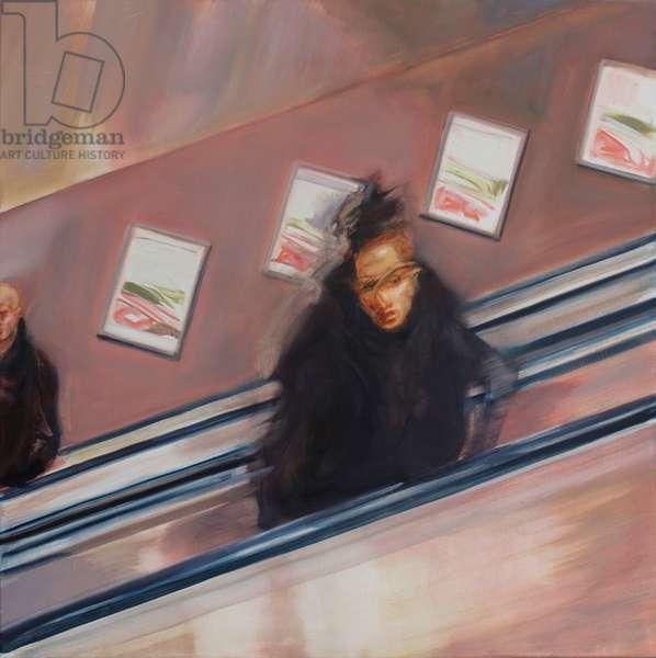 Woman Underground II, 2017, (oil on silk)