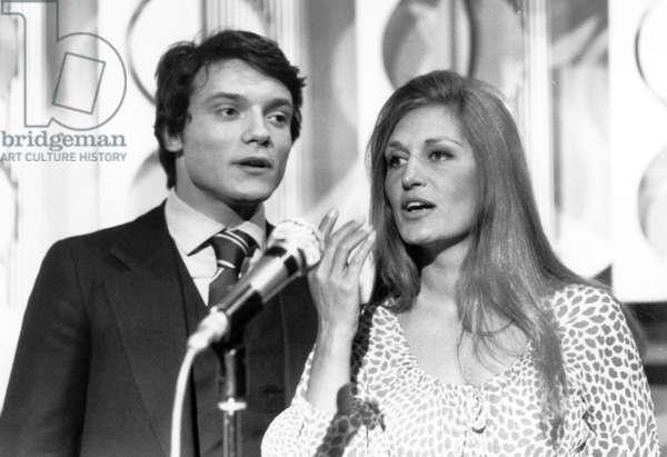 Dalida and Massimo Ranieri during Recording of TV Programme April 30, 1971 (b/w photo)