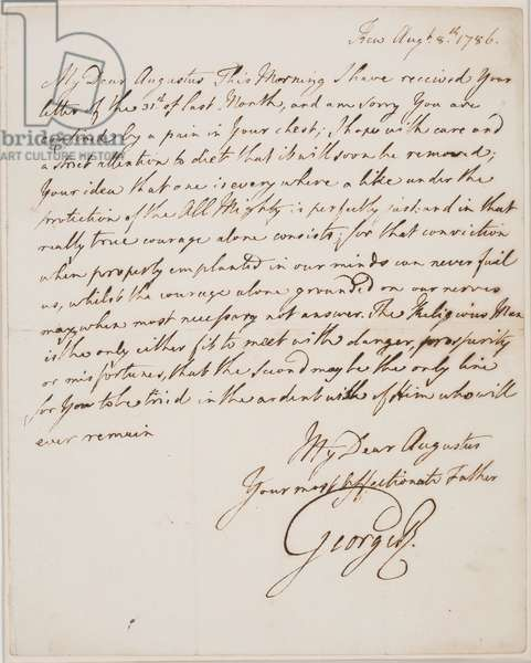 Letter from King George III to his son Augustus Frederick, 1786 (ink on paper)