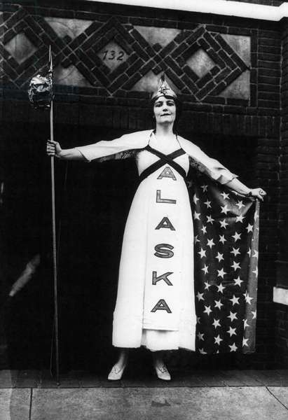 SUFFRAGETTE, 1915 Margaret Vale, niece of President Woodrow Wilson, representing the state of Alaska in a suffrage parade in New York City, October 1915.