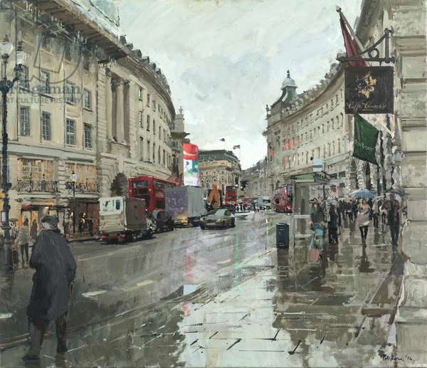 Regent Street, Rain, Looking South, 2014 (oil on canvas)