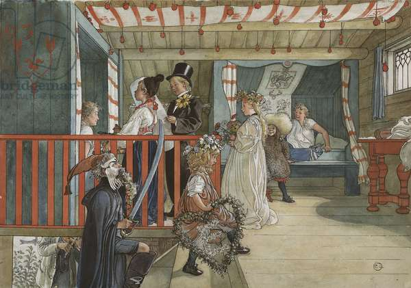 A Day of Celebration, from 'A Home' series, c.1895 (w/c on paper)