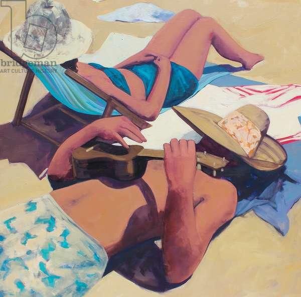 Beach Ukulele, 2016, (oil on canvas)