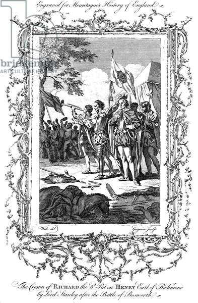 BOSWORTH FIELD, 1485 The crown of the fallen King Richard III of England is placed on the head of the Earl of Richmond, victor in the Battle of Bosworth Field (22 August 1485), thus beginning his reign as King Henry VII: copper engraving, English, 18th century.