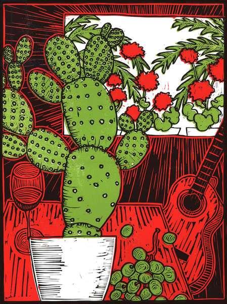 Still life with Cactus, 2014, (linocut)