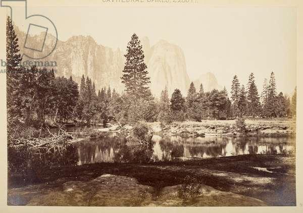 Cathedral Rocks, Yosemite Valley, 1865-66 (b/w photo)