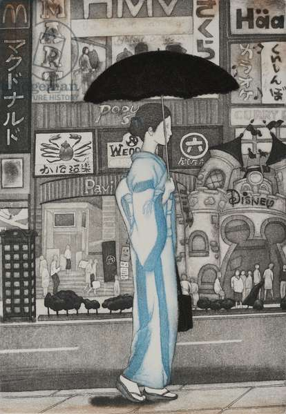 A girl in town, 2007, (etching)